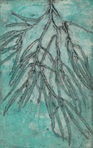 Jacky Lowry collagraph print with surface roll of real plant material.