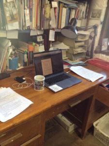 Jacky Lowry' desk in her art and printmaking studio.