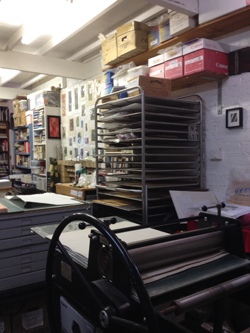 Jacky Lowry's art and printmaker studio.