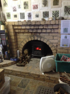 Jacky Lowry's art and printmaking studio keeping cosy in winter.