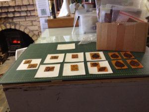 Jacky Lowry artist and printmaker, tiny collagraph printing plates.