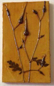 Jacky Lowry artist and printmaker, tiny collagraph printing plate of Herb Robert.