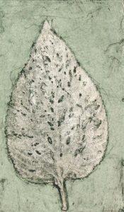 Lantana Leaf 1, © Jacky Lowry, Hand coloured collagraph print.