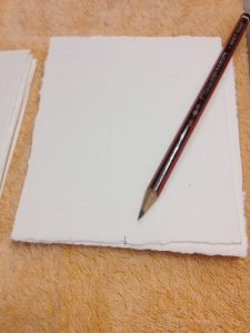 Jacky Lowry artist and printmaker, registration marks on the back of printmaking paper, to help with printing.