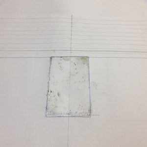 Jacky Lowry artist and printmaker's registration sheet for printing tiny collagraph plate.