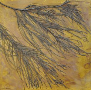 Jacky Lowry collagraph printing plate with real sheoak plant material. Art. Printmaking.