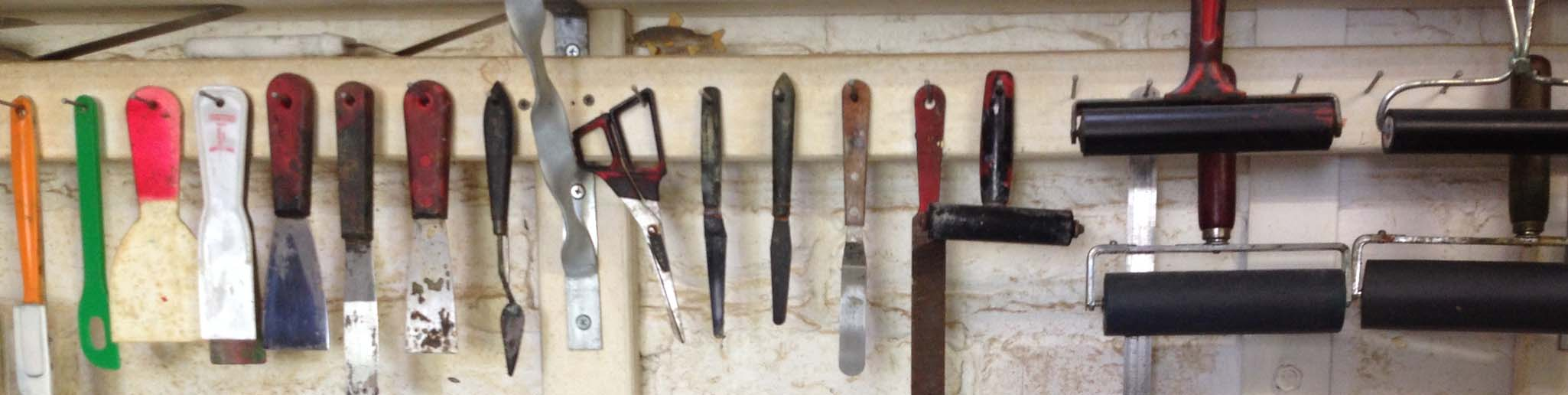 Printmaking Tools in Jacky's studio.