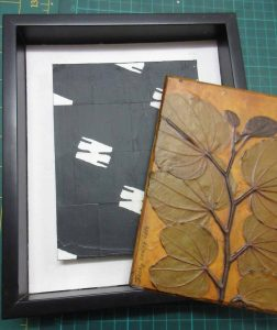 """""""Bauhinia 2"""" printing plate to be glued over """"Marching Now"""" collage"""