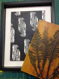 Collage to be covered by collagraph plate of a fern