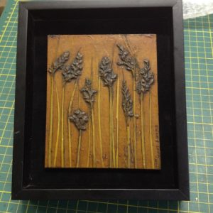 Albany Sedge 4 collagraph plate, in a repurposed frame.
